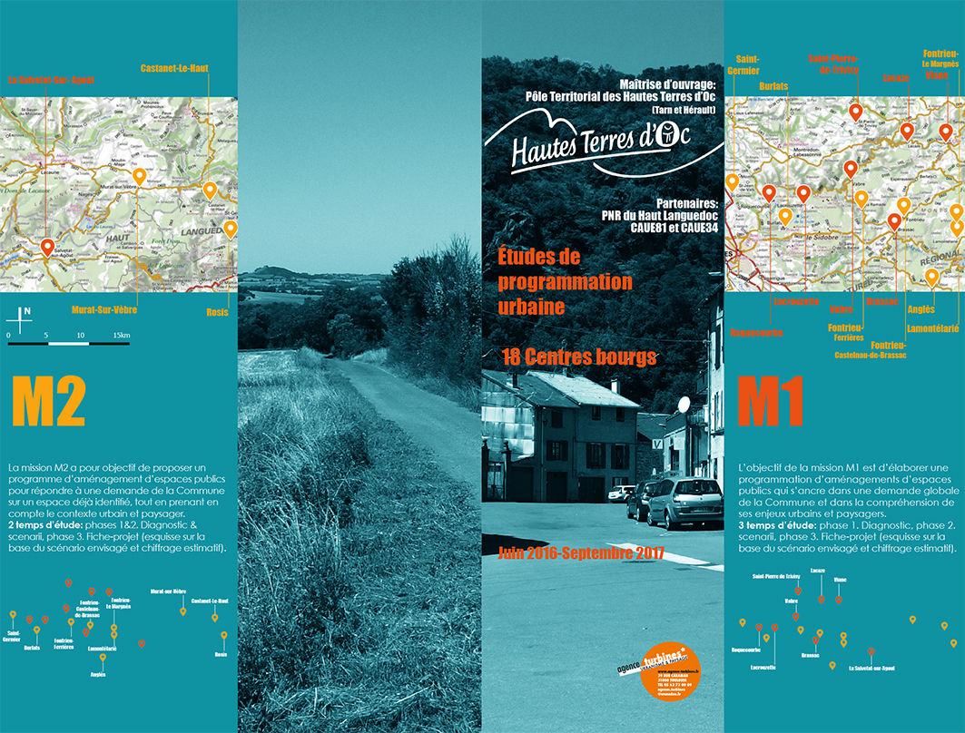 dépliant - études centres-bourgs sur 16 communes et 20 sites - PETR Hautes Terres d'Oc (81 & 34)