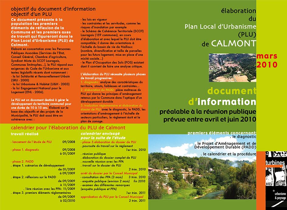 dépliant d'information sur le PLU - Calmont (31)