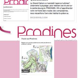 questionnaire / page Facebook de la Commune - étude bourg-centre à Pradines (46)
